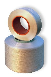 Opaque spandex fiber spun around a hollow cylinder
