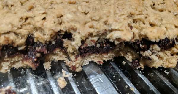 Close up of homemade oatmeal fig bar before being cut.