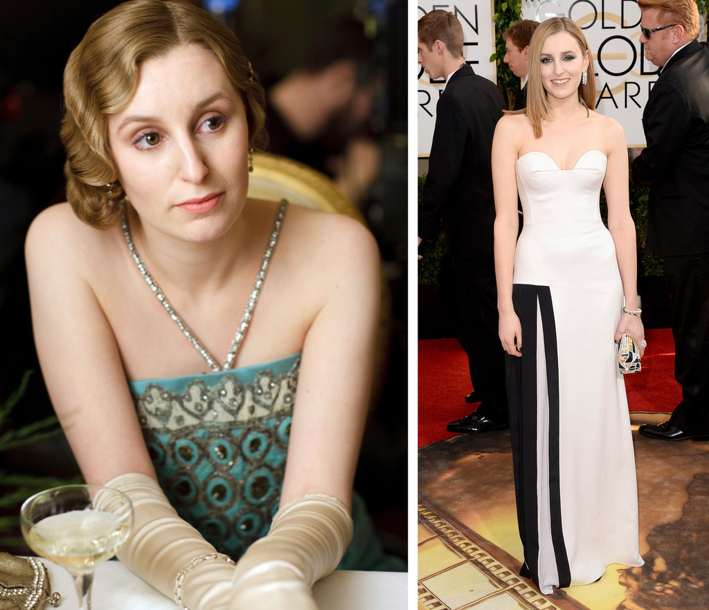 Lady Edith wearing an art deco inspired dress in Criterion, a restaurant in the television show Downton Abby.