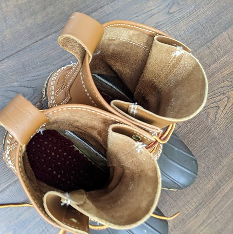 L.L. Bean Duck Boots with red crochet insoles